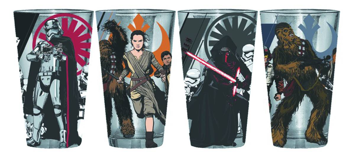 Star Wars E7 Heroes & Villains 4 Pack Pint Glass Set