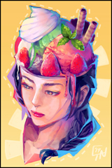 Ice Cream with Sweets Head Digital Print