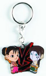 Street Fighter Pink Chun Li vs Brunette Vega Enamel Keychain