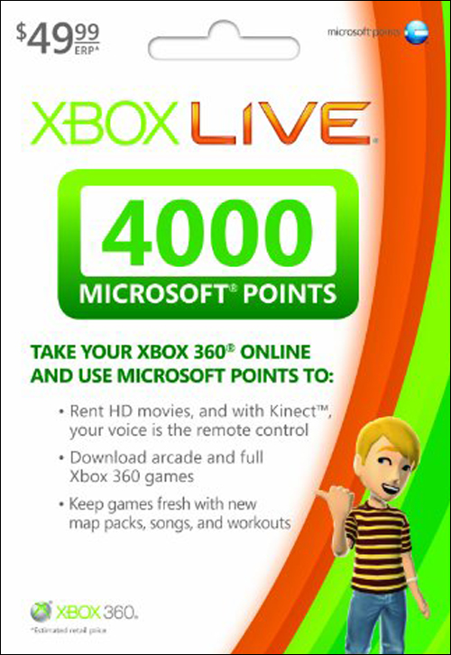 Xbox 360 Live 4000 Live Points by Microsoft