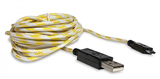Micro USB Polygon Braided 10FT Charge Cable Yellow/White
