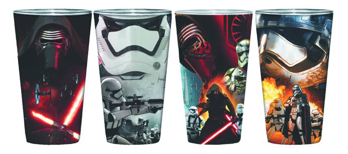 Star Wars E7 Villain Posters 4 Pack Clear Full Wrap Pint Set