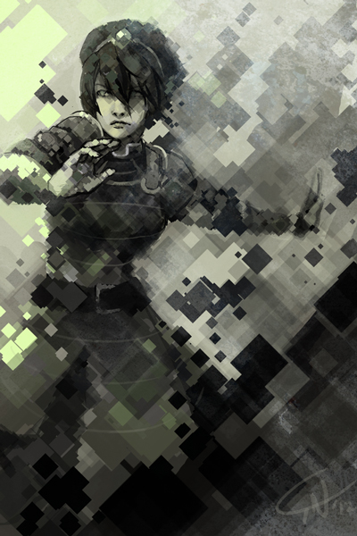 Armored Woman on Gradiant Digital Print