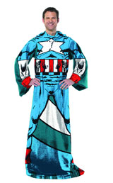 Captain America Comfy Fleece Throw Blanket with Sleeves
