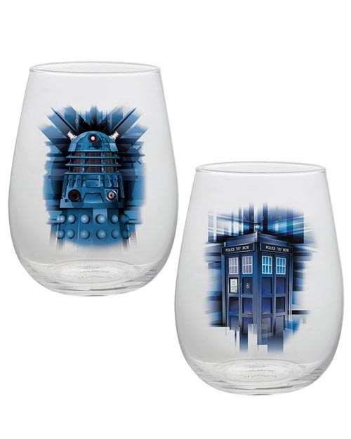 Doctor Who TARDIS & Dalek Glass Tumbler Set