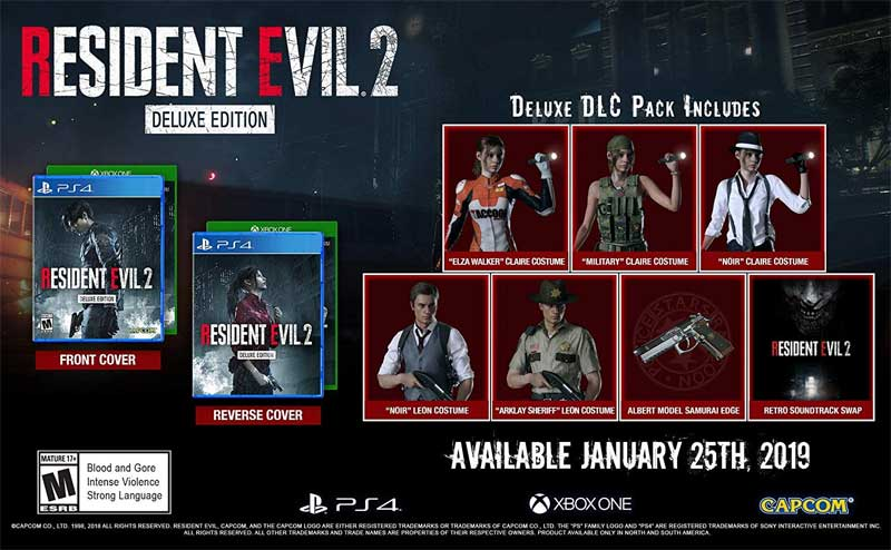 PS4 RESIDENT EVIL 2 2019 Deluxe Edition bonus items
