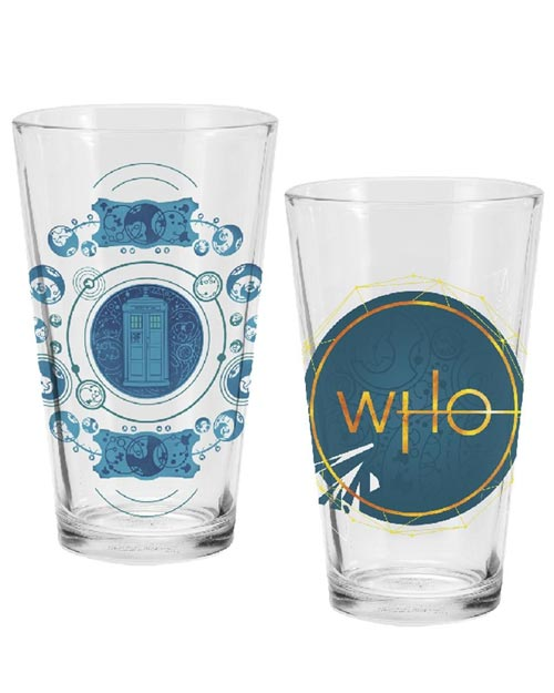 Doctor Who TARDIS & Logo Drinking Glass Set