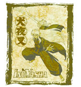 Inu Yasha Parchment Background White T-Shirt LG