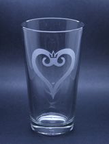 Arts & Crafts: Kingdom Hearts Logo 16oz Custom-made Glass