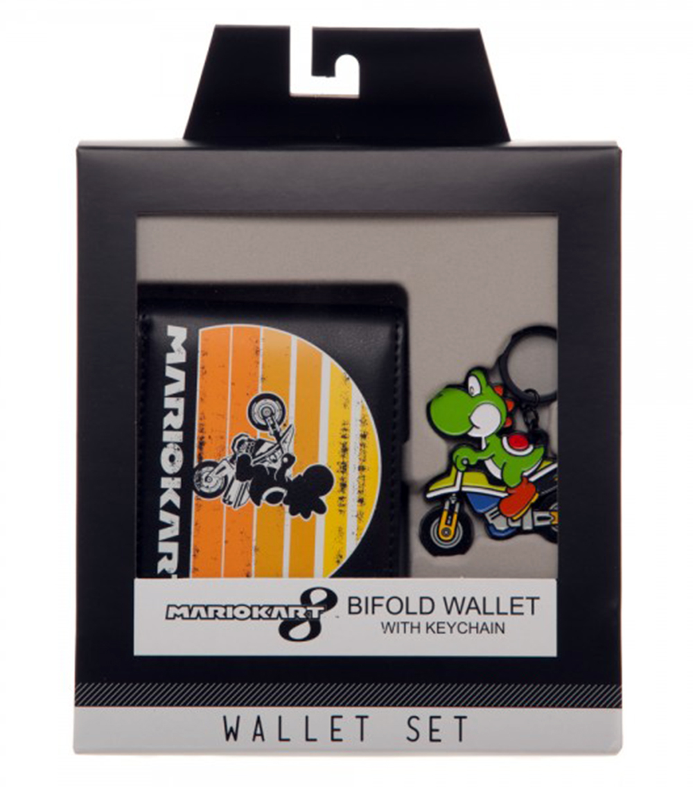 Super Mario Yoshi Cart Wallet and Keychain Gift Set