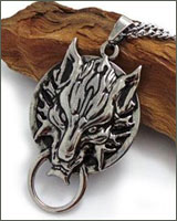 Final Fantasy Cloud Symbol Fenrir Wolf Head Necklace