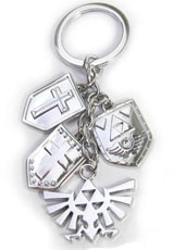 Legend of Zelda Shields and Triforce Logo Silver Keychain