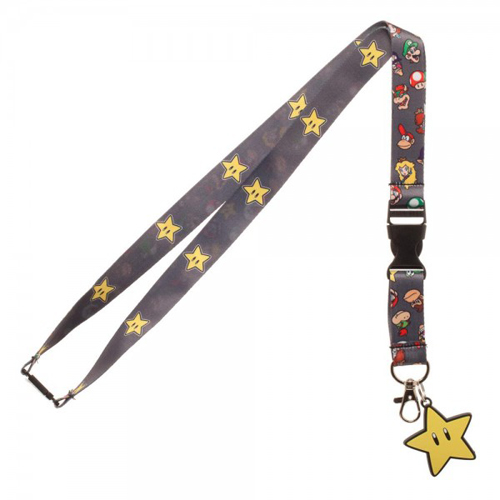 Super Mario Brothers Star Lanyard With Charm
