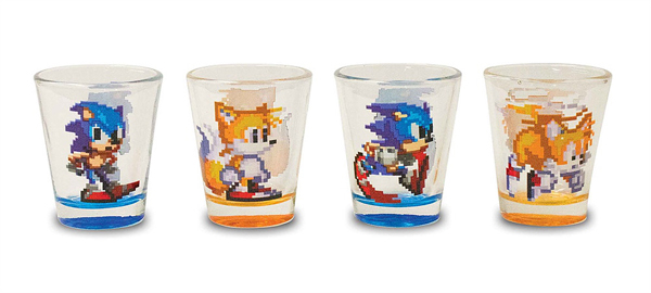 Sonic and Tails Pixel Shot Glasses 4 Pack