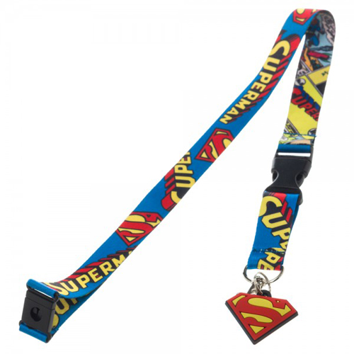 Superman Comic Logo Lanyard With Charm