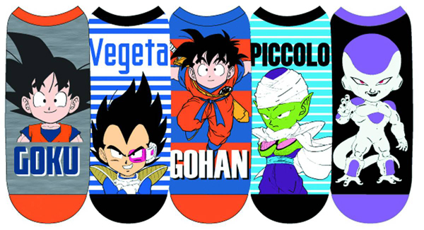 Dragon Ball Z Main Characters Unisex Low Cut Socks 5 Pack