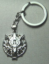 Final Fantasy Cloud Symbol Fenrir Wolf Head Silver Keychain