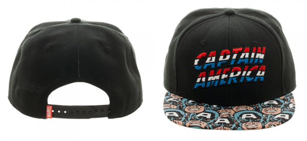 Marvel Captain America Halftone Black Snapback