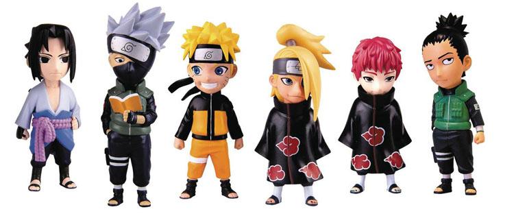 Naruto Shippuden Mininja Figurines left to right, Sasuke Uchiha, Kakashi Hatake, Naruto Uzumaki, Deidara, Sasori, Shikamaru Nara
