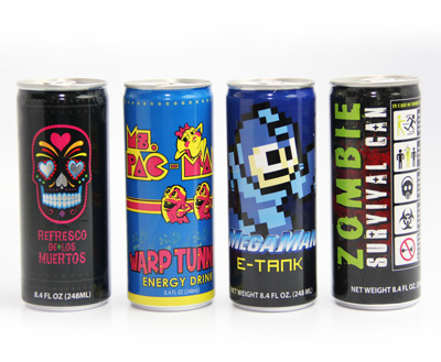 Gamer's Energy Drink 24 Cans Pack with Mega Man E-Tank Energy, Refresco de los Muertos, Zombie Survival Can and Ms Pac Man Warp Tunnel Energy Drink Group Image