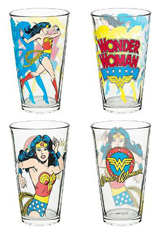 DC Comics Wonder Woman 16oz Glass Tumbler 4 Pack
