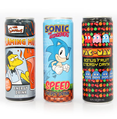 Gamer's Energy Drink 12 oz Pack A (12 Cans) with Sonic, Flaming Moe & Pac-man Bonus Fruits Image