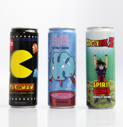 Gamer's Energy Drink 12 oz Pack B (12 Cans) with Rick & Morty, Pac-man Power-ups and DBZ Spirit Bomb Energe Drink Group Image