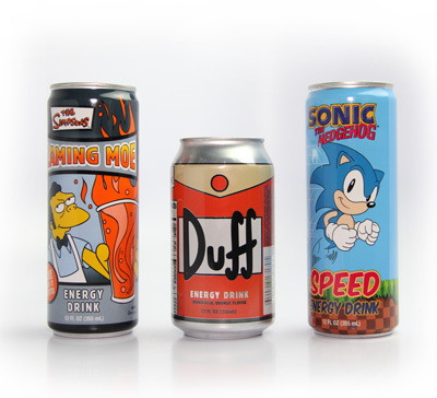 Gamer's Energy Drink 12 oz Pack C (12 Cans) with Simsons Duff, Simpsons Flaming Moe and Sonic Speed image