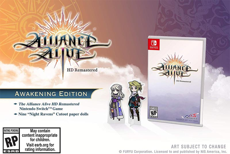 Nintendo Switch Alliance Alive HD Remastered Awakening Edition paper doll bonus