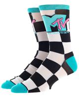 MTV Logo Checkered Crew Socks