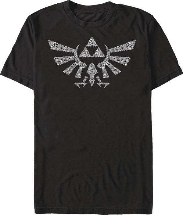 Legend of Zelda Symbolled Crest Black T/S LG
