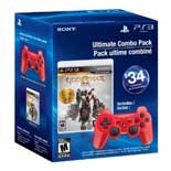 PS3 Dualshock 3 (Deep Red) / God of War Saga Bundle
