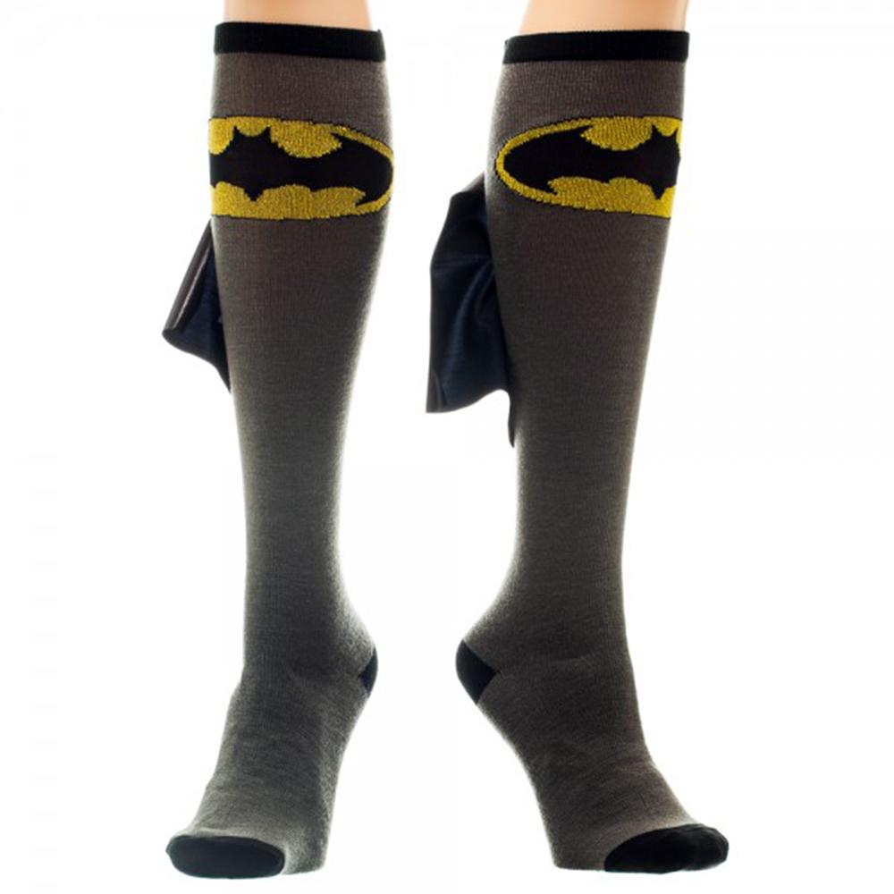 Batman Logo Grey/Black Knee High Shiny Cape Socks