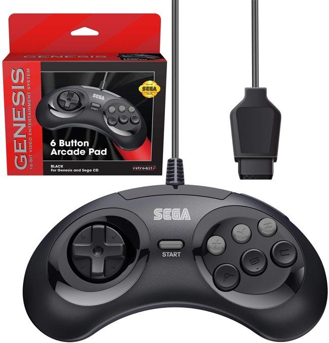 Sega Genesis Retro Bit Official 6-Button Controller Black