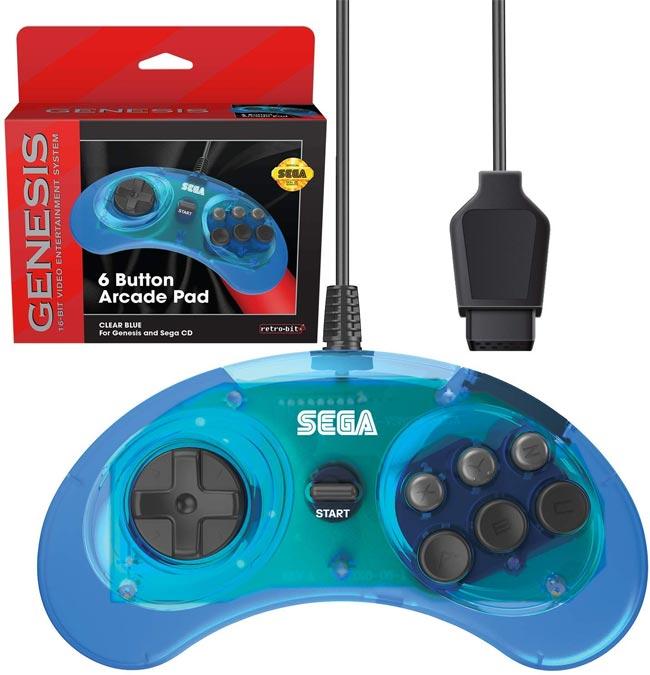 Sega Genesis Retro Bit Official 6-Button Controller Clear Blue