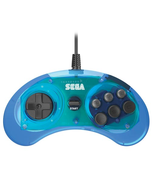 Genesis Official 6-Button Controller Clear Blue by Retro-Bit