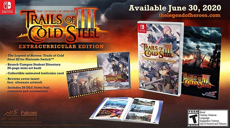 Nintendo Switch Legend of Heroes Trails of Cold Steel 3 Extracurricular Edition all items
