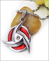 Naruto Shippuden Red Mangekyo Sharingan Metal Necklace