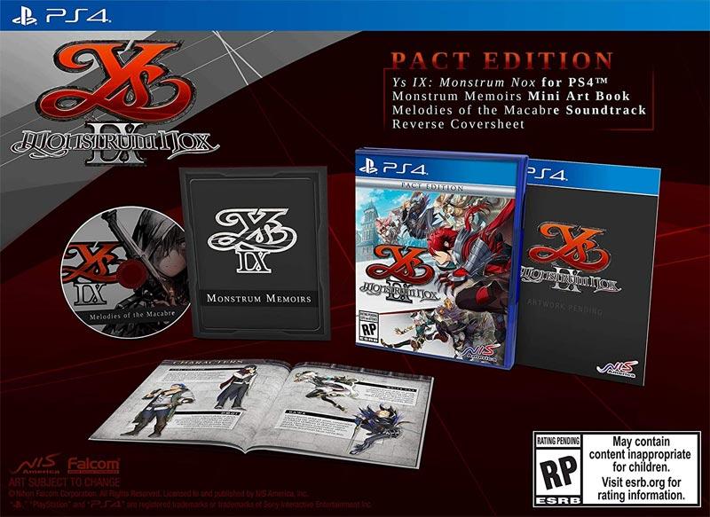 PS4 Ys IX Monstrum Nox Pact Edition all items