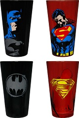 Superman & Batman Pint Glass 2 Pack Gift Set