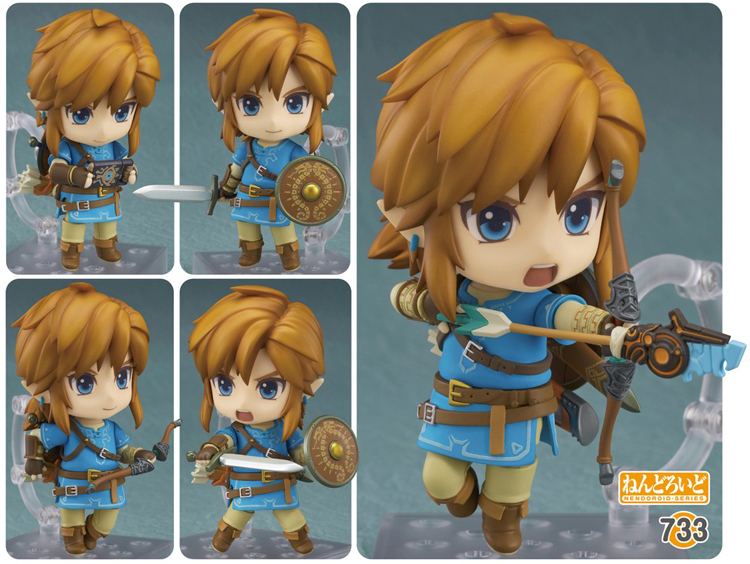 Link from Zelda Breath of the Wild in Nendoroid form is about to shhot an arrow