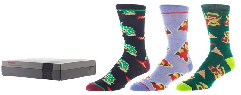 Nintendo NES Super Mario Zelda Patterned Crew Socks 3PK extra img