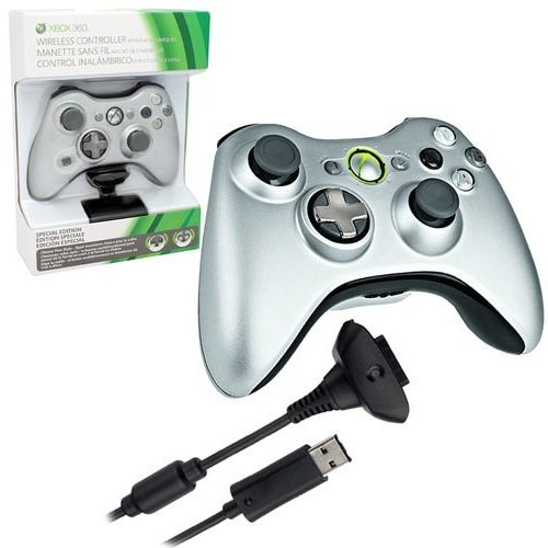 Xbox 360 Silver Wireless Controller and Play & Charge Kit