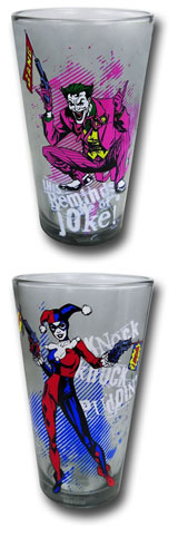 Joker & Harley Quinn Pint Glass 2 Pack Gift Set