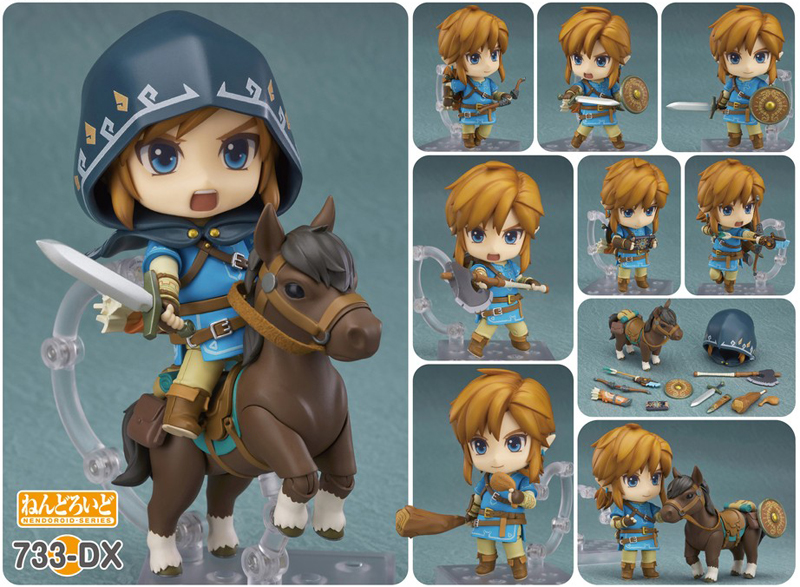 Link is riding a legenday horse, Epona with his sword drawn in Zelda Breath of the Wild Link Deluxe Nendoroid