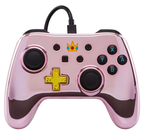 Nintendo Switch Wired Controller Plus: Chrome Princess Peach Edition
