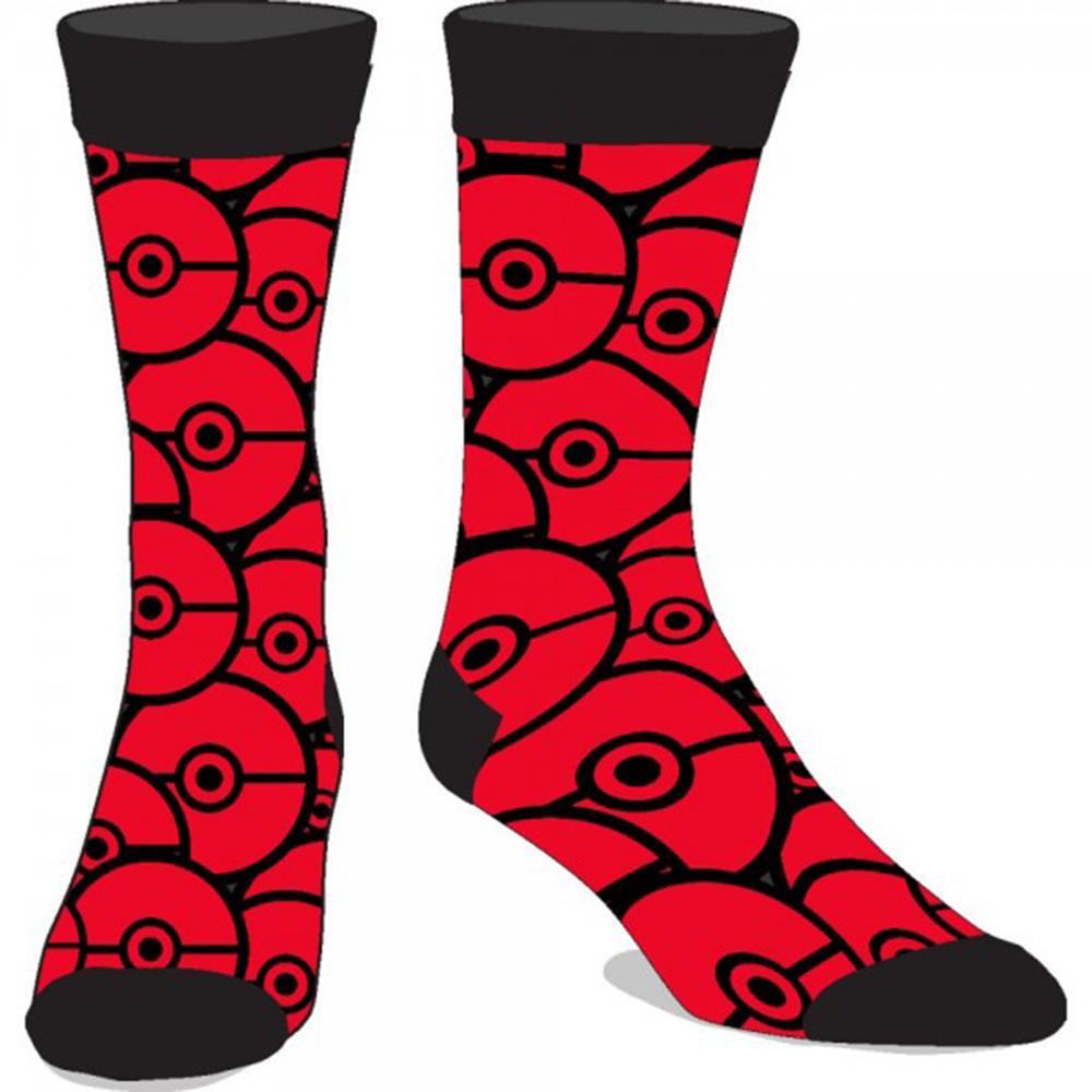 Pokemon Pokeball Red Crew Socks