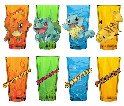 Pokemon Starters 16oz Pint Glass Set 4 Pack
