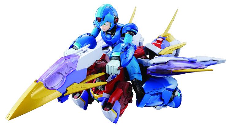 Mega Man X Giga Armor Version Chogokin Figure riding to the next fight on his transforming ride!