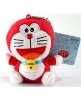 Doraemon 4 Inch Plush Keychain Red